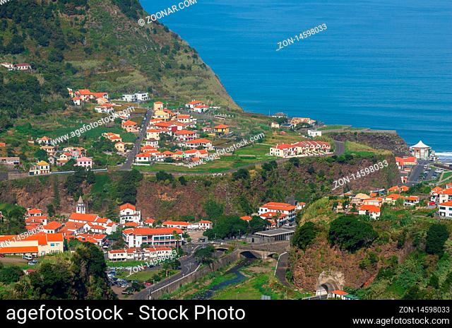 Sao Vicente; Madeira; Portugal - October 31; 2019: The fragment view of Sao Vicente village from mountain