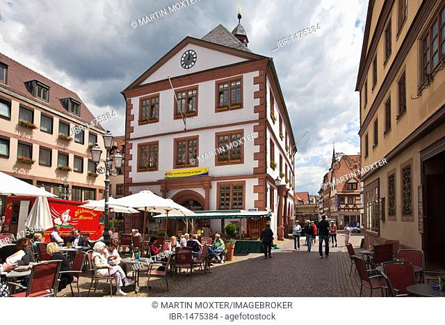City library and market square, Hauptstrasse, main street, Lohr am Main, Hesse, Germany, Europe