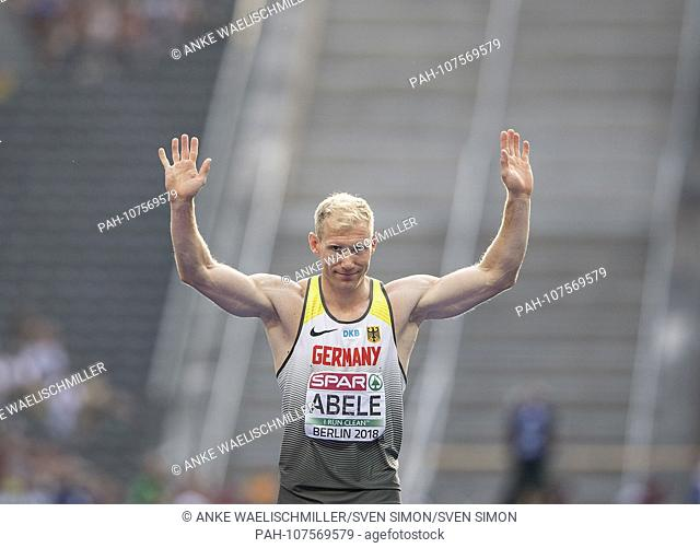 Arthur ABELE (1st place / Germany) gesture, gesture. Decathlon javelin, on 08.08.2018 European Athletics Championships 2018 in Berlin / Germany from 06