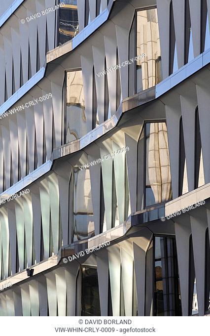 Credit Lyonnais building, dappled sunlight on glass-reinforced cement exterior