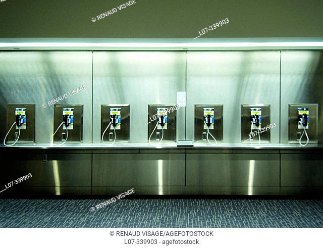 Row of telephones at airport. San Francisco, California. USA