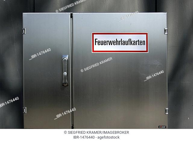 Metal cabinet labelled Feuerwehrlaufkarten, German for the route maps for the fire brigade