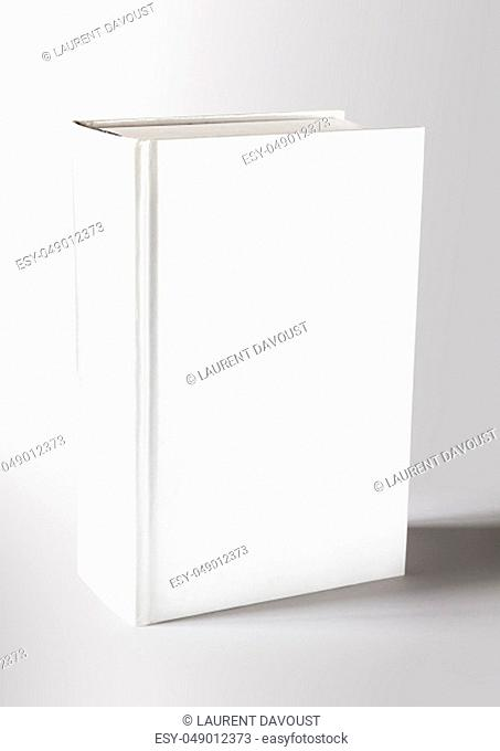 Closed blank dictionary, book mockup template. Grey background