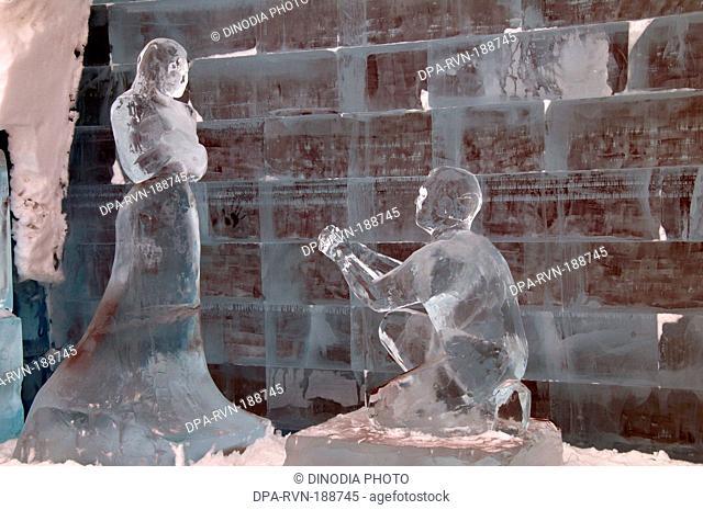 Sculptures of Ice in ice hotel Kiruna sweden