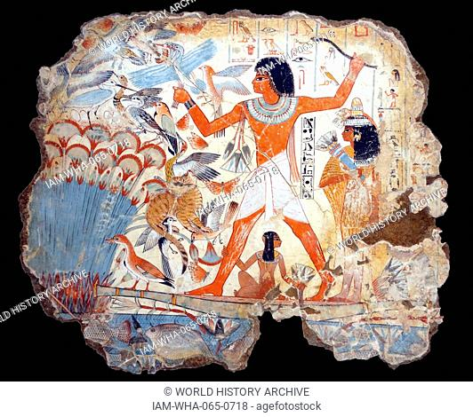 Fresco from the tomb of Nebamun, shows Nebamun on a small papyrus boat with his wife Hatshepsut behind him and his son below