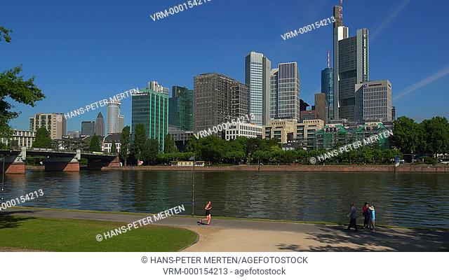 Financial district and Main River, Frankfurt am Main, Hesse, Germany