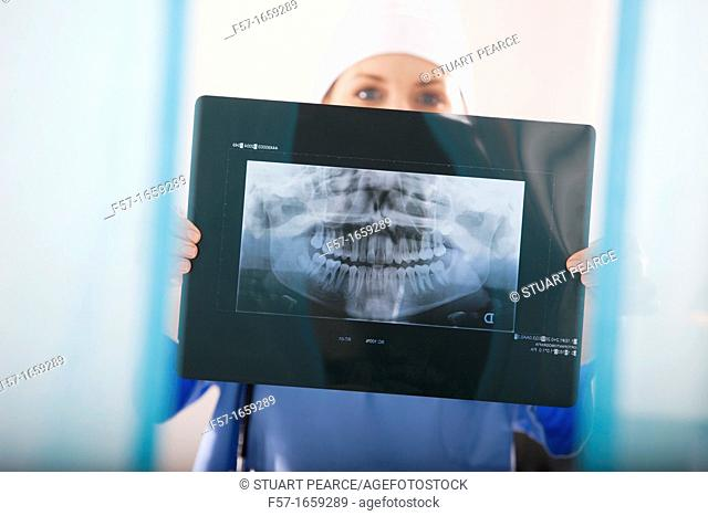Female Nurse holding up an X-ray of a mouth