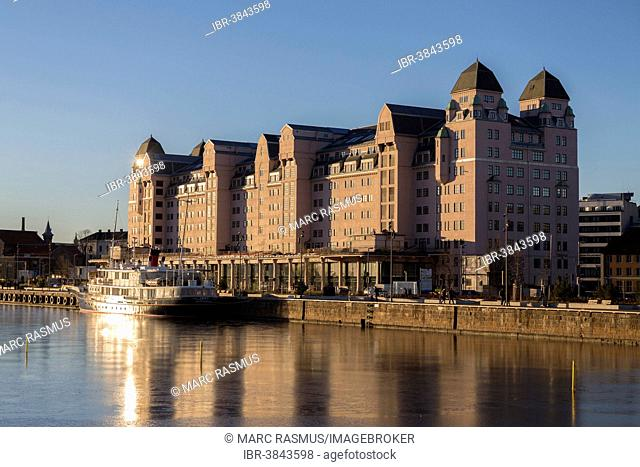 Old warehouse district on the Oslofjord in the evening light, Oslo, Norway