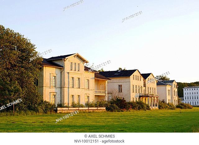 Historical residences and boarding houses, beach promenade, at sunset, seaside resort of Ostseeheilbad Heiligendamm, Mecklenburg-Western Pomerania, Germany
