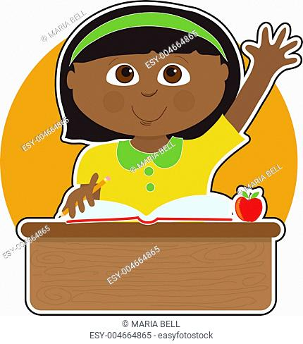 Little Girl at School Black