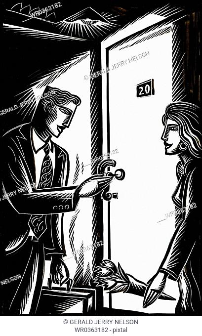 man and woman at hotel room door
