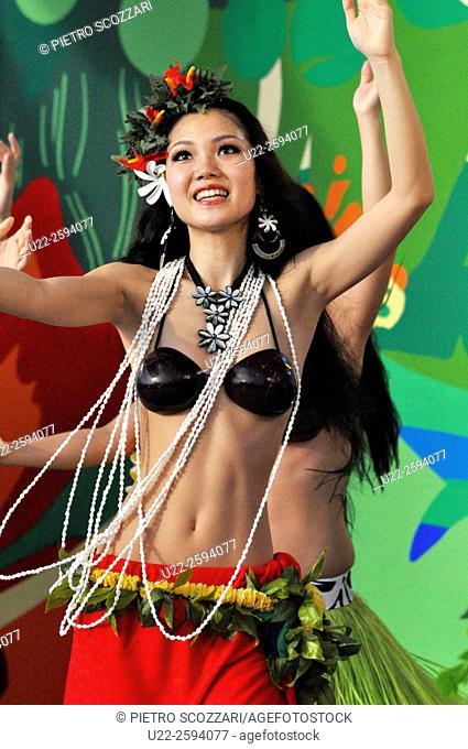 Naha, Japan, Hawaiian dances at the Dragon Boat Festival, May...