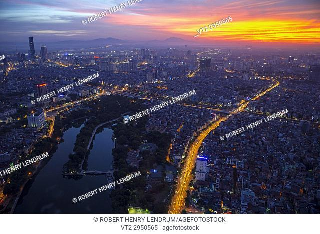 Aerial view of central Hanoi city, Vietnam