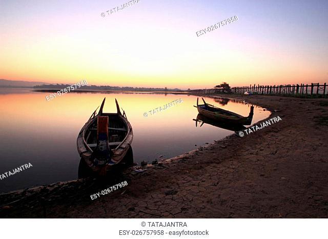 beautiful morning of marina at U-Bein bridge, Mandalay in Myanmar