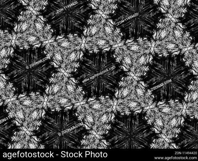 Black and white pattern mosaic kaleidoscope
