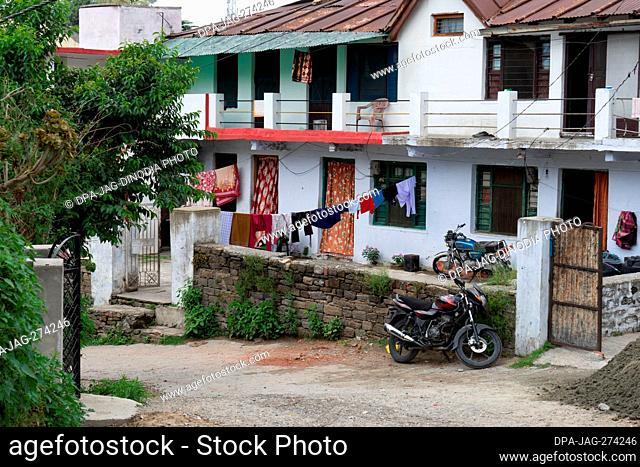 Bikes parked in house, Almora, Uttarakhand, India, Asia
