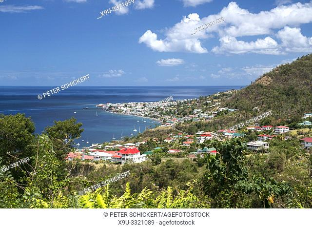 view over the capital Roseau, Dominica, Caribbean, Central America