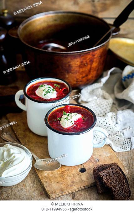 Borscht (a traditional Ukrainian and Russian beetroot soup)