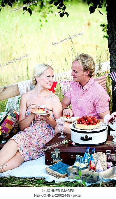 Mid adult couple having picnic