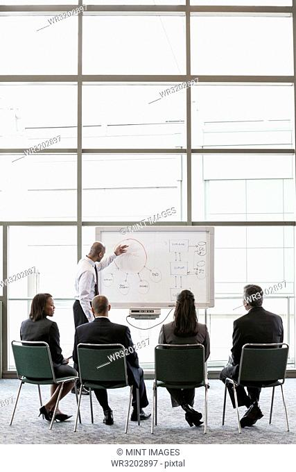 A small group of business people sitting and watching a presentation around a white board in front of a large office window