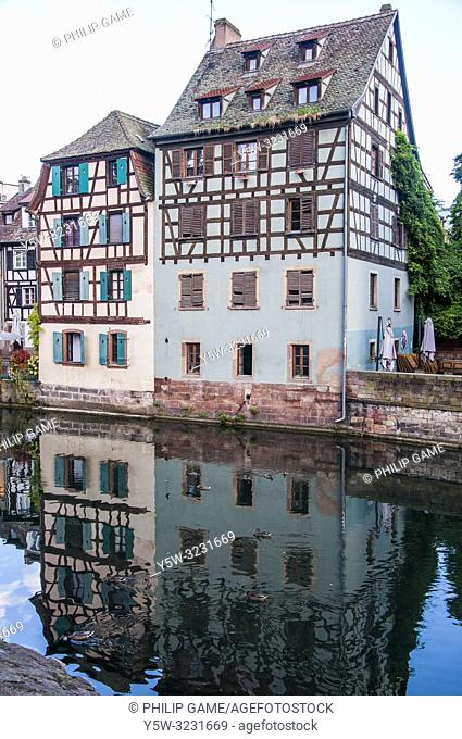 Canalside houses in the Petite France quarter of Strasbourg, Alsace, France