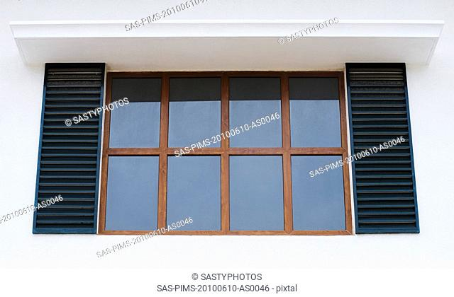 Close-up of the window of a house, Bangalore, Karnataka, India