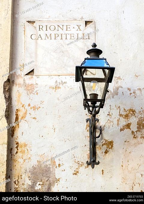 LAmp in rione Campitelli - Rome, Italy