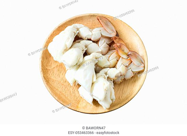 steamed crab legs on white background, thai style, seafood