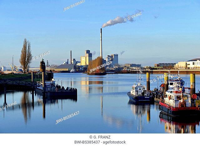 river Weser and power plant Bremen-Hafen, Germany, Bremen
