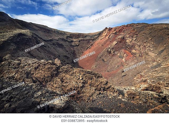 Amazing volcanic landscape. Volcanic crater in Timanfaya national park, Lanzarote, canary islands, Spain