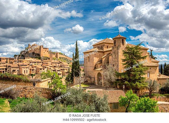 Spain, Huesca Province, Alquezar City, San Miguel Church and Santa Maria Colegiata