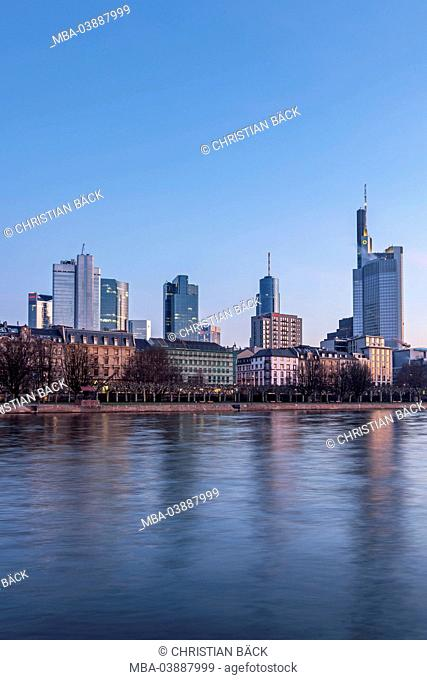 View on Frankfurt skyline of the area around the main station, Frankfurt on the Main, Hessen, Germany
