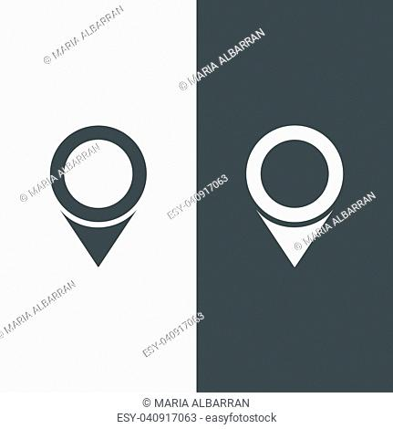 Isolated location icon for maps on a black and white background. Vector illustration