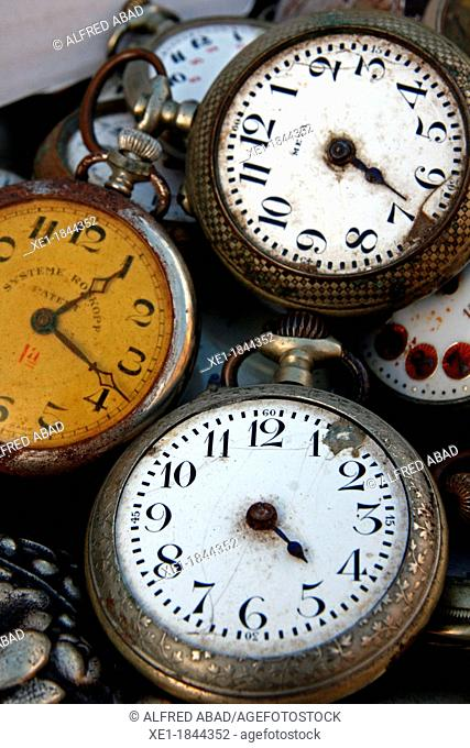 antique clocks, watches, antiques, hours, minutes, numbers, stacked, antiquarian, color, vertical