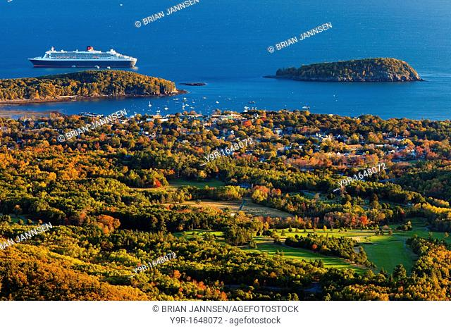 An Autumn dawn over Bar Harbor - viewed from Cadillac Mountain in Acadia National Park, Maine USA