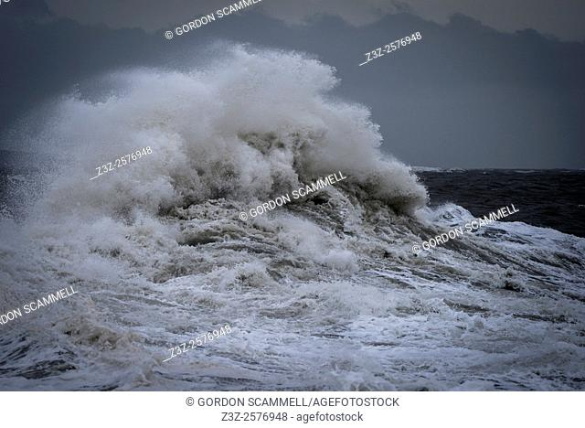 Wild seas as Storm Desmond batters the coast of Porthcawl in South Wales