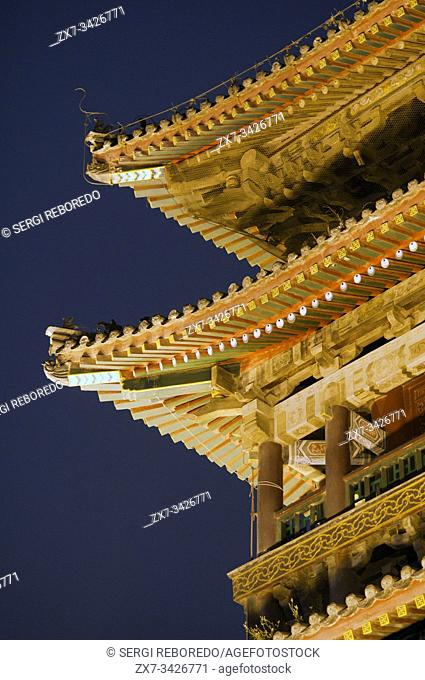Drum Tower View , Xian City Center, Shaanxi, China. Traditional Chinese style, and built in 1380 during the Ming Dynasty