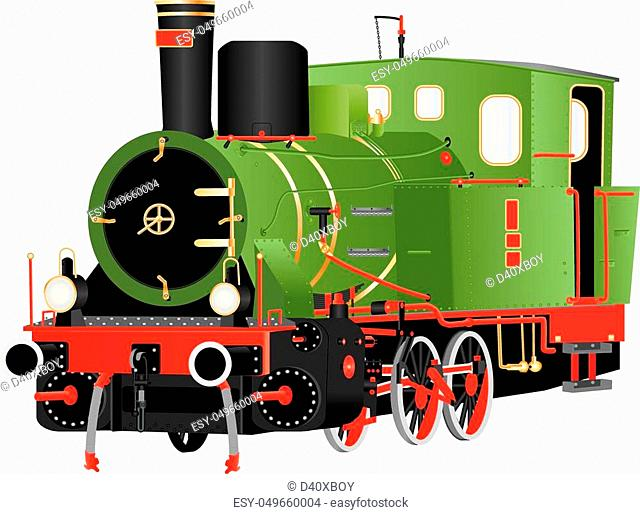 A Vintage Green Red and Black Six Wheeled Steam Tank Locomotive with Brass Fittings isolated on white