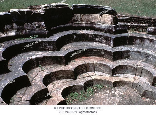 Ancient architecture. Interior of the Lotus bath. Polonnaruva, Sri Lanka