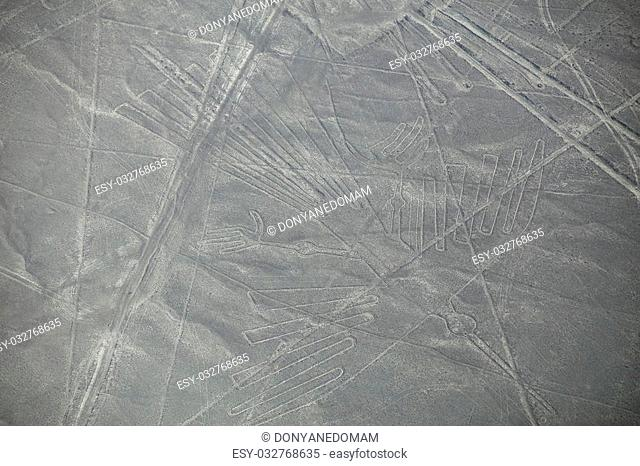 Aerial view of Nazca Lines geoglyphs in Peru. The Lines were designated as a UNESCO World Heritage Site in 1994