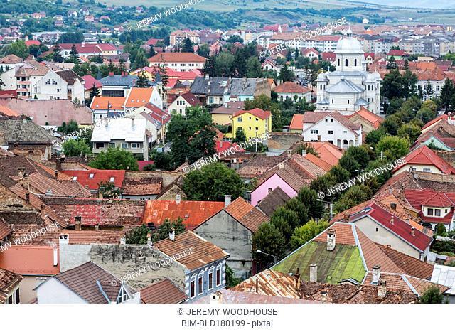 Aerial view of Bistrita cityscape, Transylvania, Romania