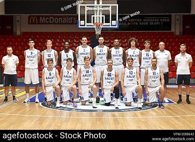 Aalstar's players pose for a team picture at a photoshoot of Belgian Basketball team Okapi Aalstar, ahead of the 2021-2022 EuroMillions League
