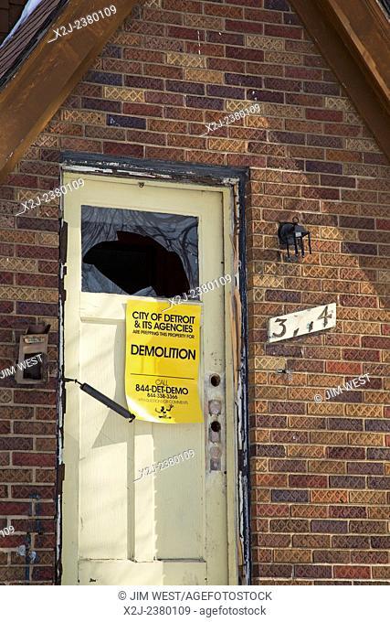 Detroit, Michigan - A house prepared for demolition