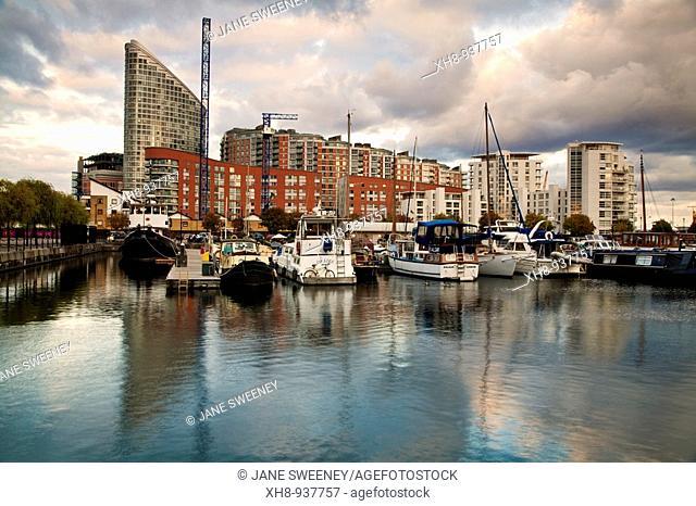 Poplar wharf and marina, London, England, UK