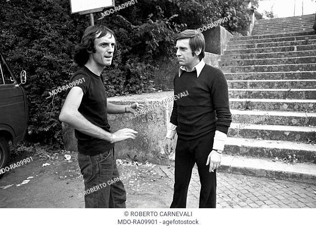 Italian director Dario Argento and Italian actor Enzo Cerusico on the set of TV show Door into Darkness. 1972