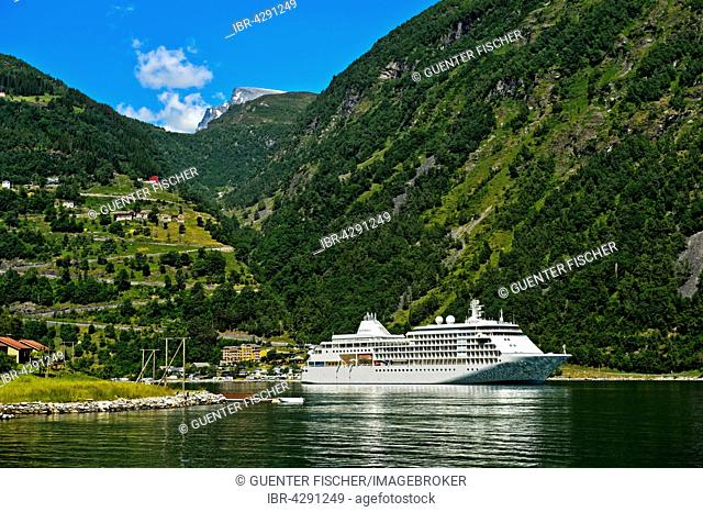 Cruise ship MS Silver Whisper in the Geirangerfjord, Geiranger, Norway