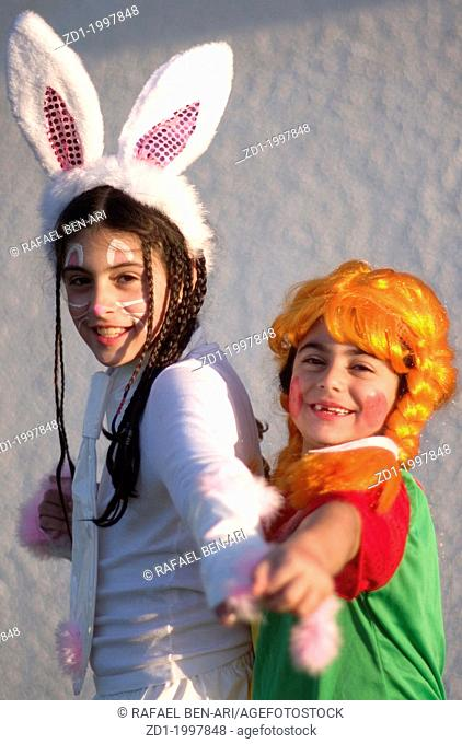 Israelis celebrate the Jewish holiday Purim in the streets of Israel