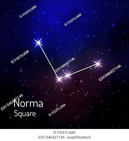 Norma Square constellation in the night starry sky. Vector illustration