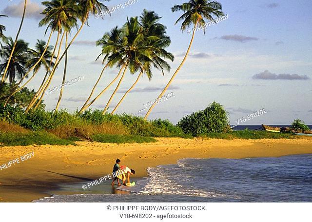 Beach of Weligama, south coast, Sri Lanka