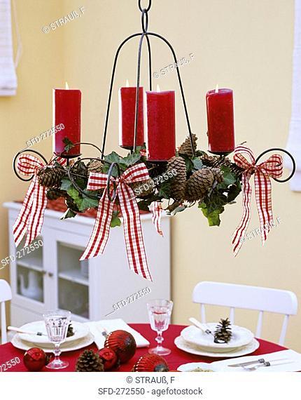 Hanging Advent wreath in metal hanger